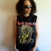 Vintage 90s Heavy Metal Rock and Roll Iron Maiden Killers Sleeveless Black T Shirt