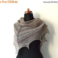 PRE XMAS SALE wool shawlette, knitted triangle shawl, brown oatmeal scarf, eco fashion