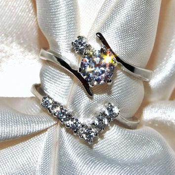 Vintage Engagement Wedding Ring Set, 2 Piece Bridal Set, Chevron Diamond CZ Eco Friendly Bypass Style, Sterling Silver, Warm CZ Ring Set