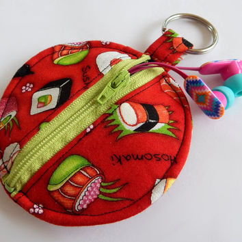 Sushi Earbud Holder / Japanese Coin Purse / Circle Pouch / Sushi Print / Asian Inspired / Wasabi / Red and Green