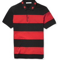 Givenchy - Cuban-Fit Star-Trimmed Striped Cotton Polo Shirt | MR PORTER