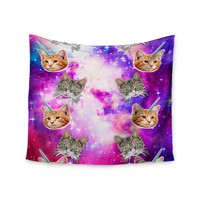 """Crazy Cat Galaxy"" Unicorn Kitten Pink Blue Galaxy Cloud Wall Tapestry"