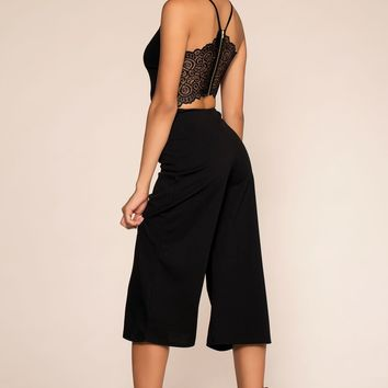 Just One Breath Culotte Jumpsuit - Black