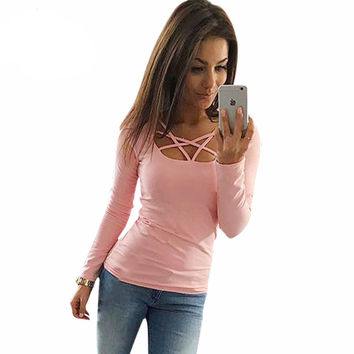 Autumn T Shirt Women Long Sleeve Slim Fit Fashion Ladies Top Hollow Out Tops Tee Solid