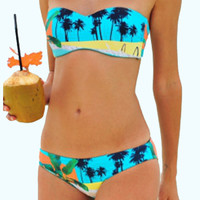 Blue Palm Tree Print Bandeau Bikini