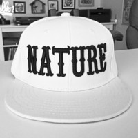 Nature White 3D Embroidered Snapback Hat