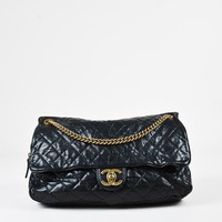 "Chanel Black Quilted ""Glazed Caviar"" Leather ""Large Shiva"" Flap Bag"