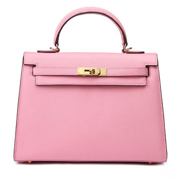 Kelly Style Epsom Leather Bag - Cherry Pink