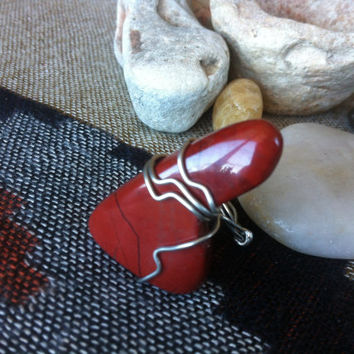 Red Jasper Wire Wrapped Ring - Crystal Jewelry - Chakra Jewelry - Root Chakra - Healing Jewelry - Ring Size 6.5 - Gypsy Ring - #188