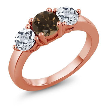 2.00 Ct Round Brown Smoky Quartz White Topaz 18K Rose Gold Plated Silver Ring