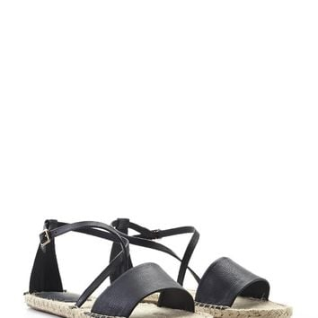 Faux Leather Espadrille Sandals