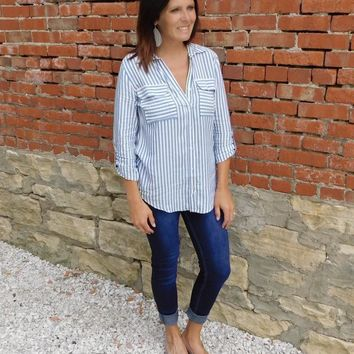 Button Down Striped Top