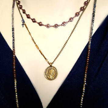 Brass Coin Necklace, Vintage Brass Chain, Gold Brass Layering Necklace, Coin Necklace, Antique Brass Chain Necklace, Antique Style Coin