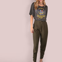 Tailored Cigarette Buckle Pants OLIVE -SheIn(Sheinside)