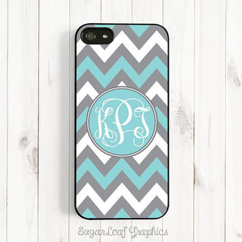 Personalized Initials Monogram Phone Case Tiffany Blue Chevron Samsung Galaxy S3 S4 iPhone 4 4s iPhone 5 iPhone 5s 5c Case Csc88