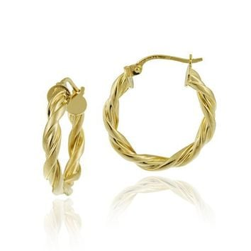 Goldtone Finish Silver 3x20 Twist Clicktop Hoop Earrings