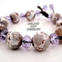Natural stone and light purple crystal beaded bracelet