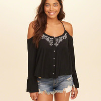 Girls Embroidered Cold Shoulder Top | Girls Tops | HollisterCo.com