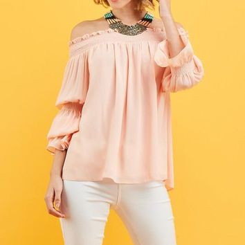 Off the Shoulder Balloon Sleeve Top