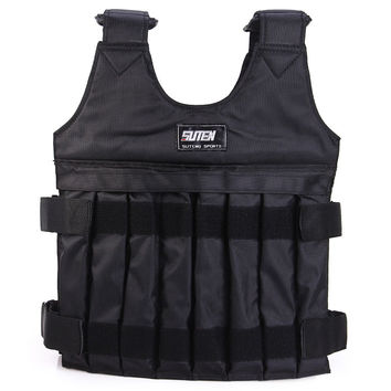 SUTEN 10kg Max Adjustable Weight Jacket Weighted Vest Exercise Fitness Boxing Training Waistcoat Invisible Weight Vest 2016 New