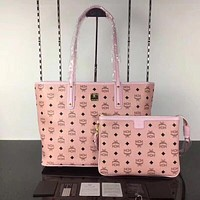 MCM Fashion Women Shopping Bag Leather Shoulder Bag Satchel Tote Handbag Crossbody Set Two Piece Pink I-AGG-CZDL