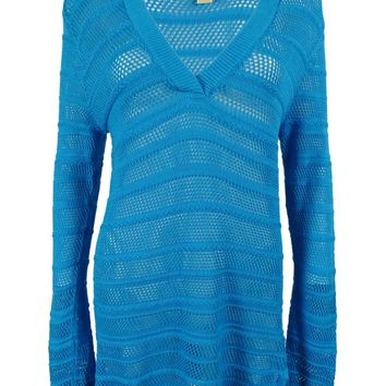 Michael Kors Women's Long Sleeves V-Neck Open Knit Sweater