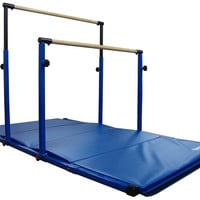 Blue 3Play Horizontal Gymnastics Bars with 8ft Blue Mat by Nimble Sports