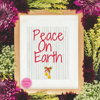 Christmas Wall Art, Peace On Earth, Christmas Table Top Decor Print, Instant Digital Download Print, Christmas Home Decor, Jingle Bell Art
