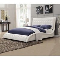 Modern Style Wave Design White Upholstered Bed | Overstock.com Shopping - The Best Deals on Beds