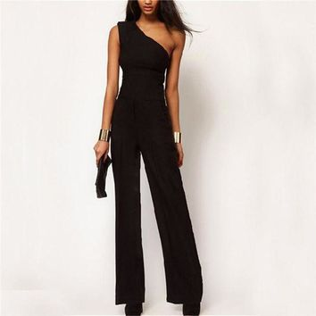 ONETOW 2017 Womens Off One Shoulder Jumpsuit Romper Black OL Workwear Sexy Sleeveless Long Pant Playsuit Femme Casual Overall Trouser