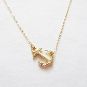 Mother's Day Sale Sideways Gold Anchor Necklace  14k by teilla