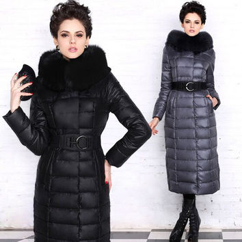 Down Parka Real Fox Fur Collar 2016 New Brand Fashion White Duck Down Jacket X-Long Coat Thicken Warm Winter Jacket Women
