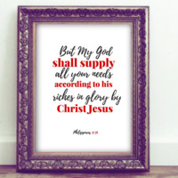 Philippians 4:19 Bible Verse Inspirational Quote Printable Wall Art