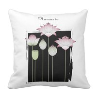 Personalized Pink Lotus Flower Modern Chic Black Throw Pillow