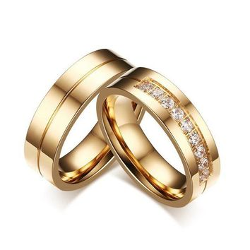 DCCKU62 2 model Trendy Wedding Bands Rings for Love Gold-color CZ Stone Stainless Steel Promise Jewelry