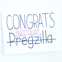 Baby Shower Card - Congrats Pregzilla