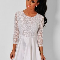 Angel White Long Sleeved Lace Skater Dress | Pink Boutique