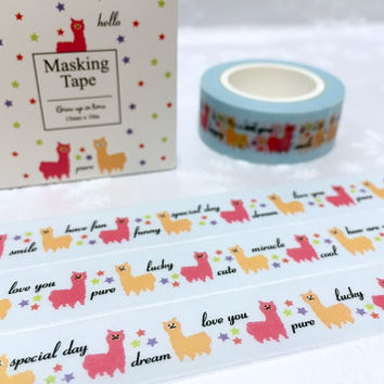 alpaca washi tape 10M alpaca sheep masking tape little farm animal sticker tape removable adhesive colorful alpaca gift wrapping tape