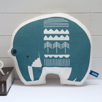 Hand Screen Printed Bear Pillow in Grey Blue