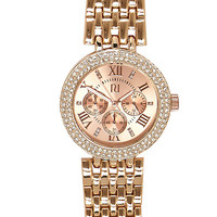 River Island Womens Rose gold tone chunky rhinestone watch
