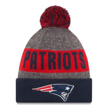 ESBON NFL New England Patriots New Era Heather Gray 2016 Sideline Official Sport Knit Hat