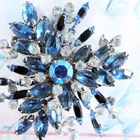 Blue Rhinestone Crystal Brooch Dogtooth Prong Set Navettes Vintage Jewelry Gift Special Occasion Birthday