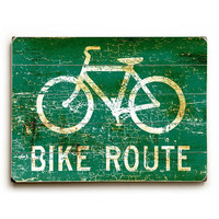 Bike Route by Artist Peter Horjus Wood Street Sign