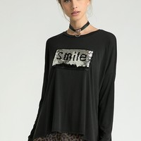 Sequin Smile Graphic Long Sleeve Tee