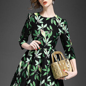Birds and Leaves Printed Skater Dress