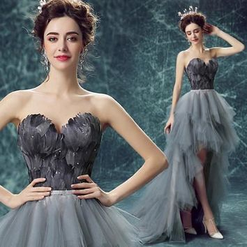 In Stock High Low Backless Gray Feather Prom Dresses With Train Short Front Long Back Fashion Women Evening Party Gowns 2018