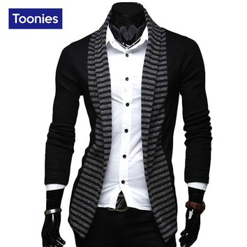2016 New Spring And Autunm Fashion Men's Stripe Sweater Mens Long Sleeved knit Cardigan Casual Male Outerwear Fashion Sweater