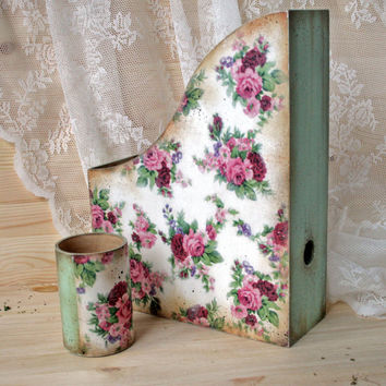 The office set Wooden Magazine Rack Vintage style rack Shabby chic Roses Paper rack Magazine file Pencil holders