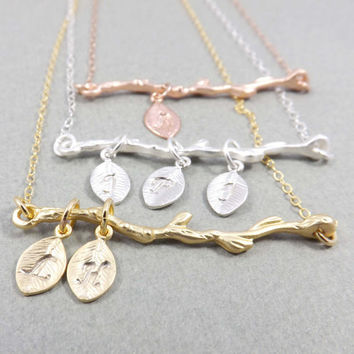 Personalized necklace -Branch Necklace, Pendant Necklace - Silver, Gold, Rose gold- Family Tree Necklace