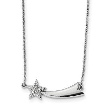 Sterling Silver Rhodium-plated CZ Shooting Star w/2in ext. Necklace QG4437